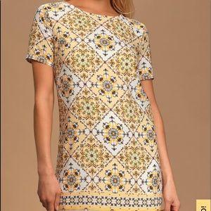 Lulus Dandy Lion Yellow Shift Dress